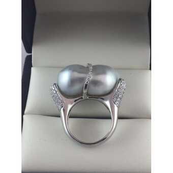 Итальянское кольцо с диким жемчугом
