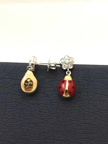 Серьги Aaron Basha Flower Ladybug Stud